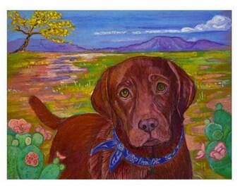 Chocolate Lab art painting pet portrait ORIGINAL desert dog art oil pastel landscape southwestern
