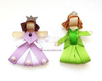 Inspired Princess Sofia and Amber sculpture ribbon hair clip / girl hair clip / girl barrette...