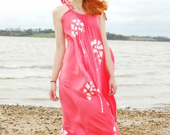 Coral Floral Hand Printed Maxi