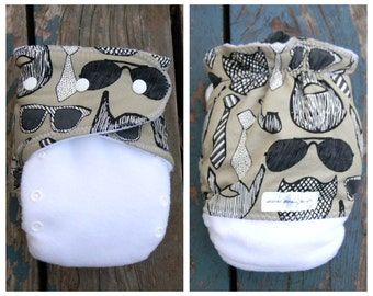 Urban Beards and Glasses Ai2 hybrid cloth diaper with bamboo soaker