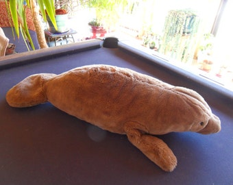 Steiff manatee, LARGE!!! w. button flag, EAN 062773, made in Germany 575