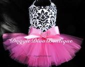 Dog Tutu Dress Damask with Hot Pink XXS, XS, Small, Medium