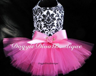 Dog Tutu Dress Damask with Hot Pink XXS, XS, Small, Medium