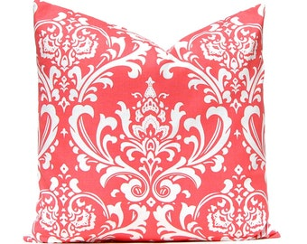 Pillow Covers, Beach Decor, Coral Pillow, Decorative Throw Pillow Cover One 18 x 18 Inches Damask Pillow Covers Coral White Bedroom Pillow