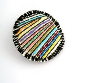Geometric brooch, colorful stripes, textile jewelry, modern embroidery jewelry, geometric embroidered pin, fabric badge, fabric jewelry