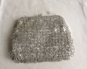 vintage sequin and bead purse silver beaded clutch
