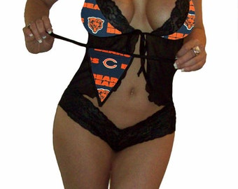 NFL Lingerie Chicago Bears Sexy Cami Top and Lace Booty Shorts Set Plus FREE Matching G-String Thong Panty