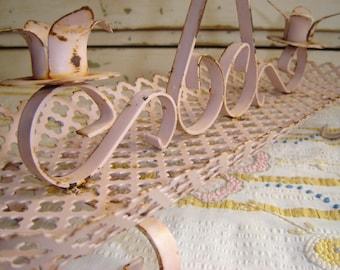 Shabby Cottage Pink Iron Mid Century Candle Holder