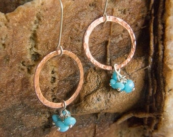 Hammered Copper Hoops + Turquoise