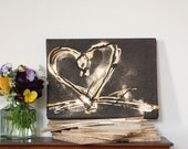 Chocolate heart canvas, original art, 9.5 x 7 inches, brown cream & gold heart canvas with textured detail, fun lively style