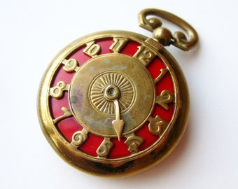 Vintage 40s Late For a Very Important Date Novelty Brass Enamel Pocket Watch