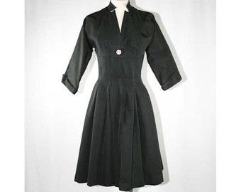 Size 6 Black Dress - 1950s Taffeta Wasp-Waisted Dress - 40s 50s New Look - Fit & Flare - Glamorous - Bust 35 -Waist 26 - 38991