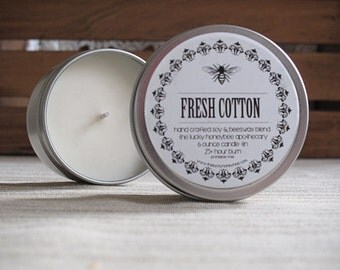 Soy Candle Tin, Fresh Cotton Scented Soy, 6 oz. hand poured soy candle with a clean and scent, hand crafted in small batches
