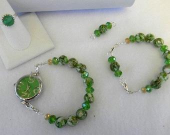 Adornables Watch Bracelet, Green Watch, Interchangeable Watch Band, Green Watch Bracelet