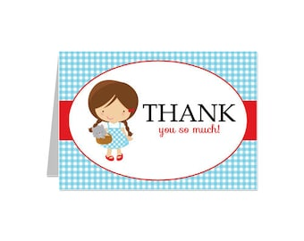 50% Off Sale - PRINTABLE Dorothy/Wizard of Oz Party Thank You Card - INSTANT DOWNLOAD