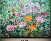 On Sale,Spring Impression, rose garden, 24x18inch original palette knife painting,ready to hang,great Valentine's gift