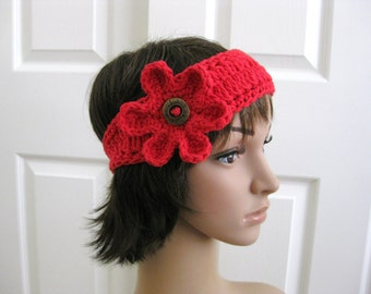 Crochet Flower Head Band - Crochet Red Head Band - Red Crochet Headband - Hippie Headband - Crochet Headband with Flower