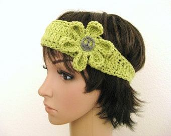 Crocheted Flower Head Band - Peace Symbol Head Band - Green Crochet Head Band - Green Crochet Headband - Hippie Headband - Green Crochet
