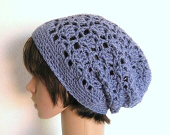 Crochet Slouch Beanie Hat-Steel blue-Lacy Crochet Hat- Blue Beanie-Slouch Hat-Lacy Beanie