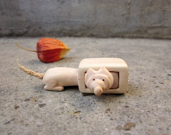 Miniature drawer with a playful mouse, wood carving, wood box, Wood sculpture, reclaimed wood, ECO, Personalized Gifts, unique gift