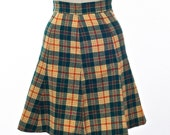 70's Short Skirt Plaid Green and Gold Wool A-Line Flare Schoolgirl