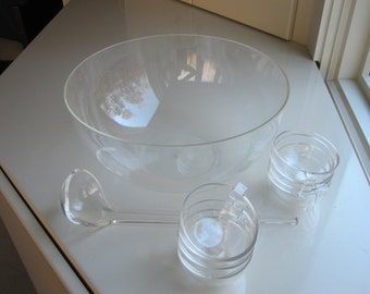 Vintage Guzzini Italy 60s Mid-Century Modern Acrylic Punch Bowl Set - Bowl, Ladle, 8 Cups
