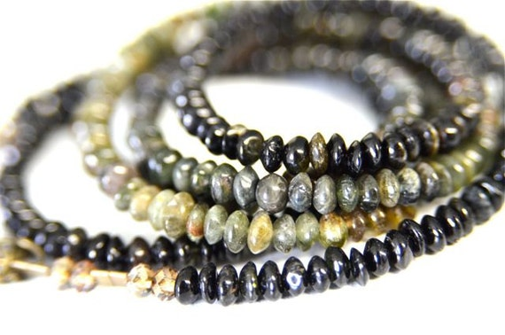 Green Tourmaline Long Necklace with Ombré Shading & Dark and Light Natural Tourmaline Stones . Handmade in Maine