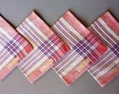 4  Linen Czech Napkins -Vintage Pure Linen -Never Used - Unused - Cream - Red- Blue - Paper Label - Czechoslovakia