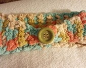 Mint Green, Coral, Olive Green and Cream Crocheted Head Band