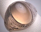 Antique Victorian Moonstone Ring Vintage 1890's Silver