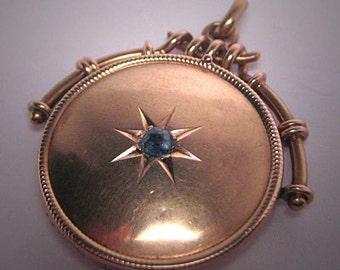 Antique Victorian Sapphire Locket Vintage Rose Gold 9ct