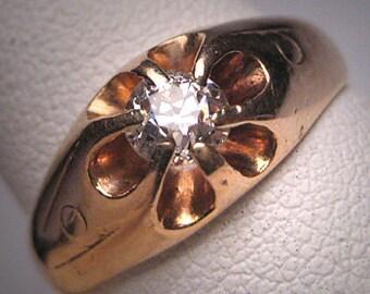 Antique Diamond Wedding Ring Victorian Mine Cut 14K 1800's
