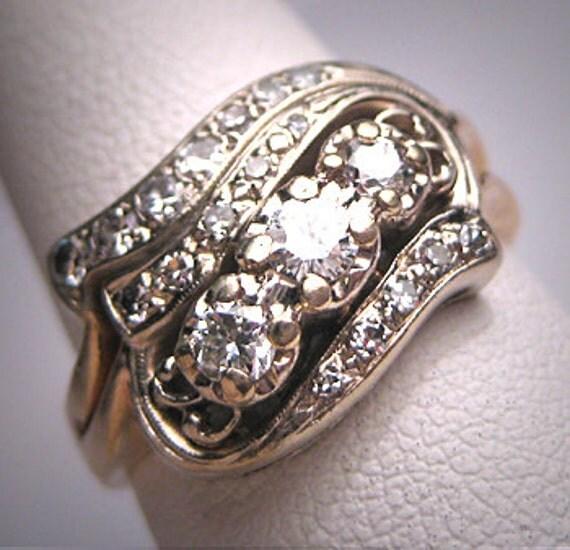 Antique Wedding Ring Set Vintage Art Deco Band 1930s