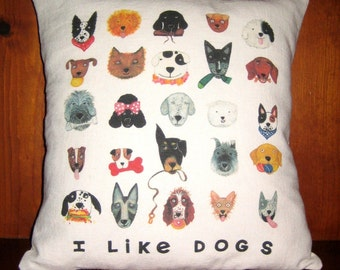 I Like Dogs Linen Cotton Throw Pillow Cover