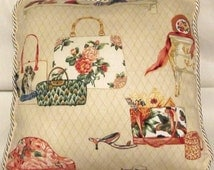 Shabby Country French Chic Cottage Pillow Toile Red Check Novelty Pillow Handbags Purses Shoes