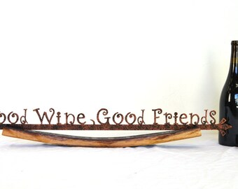 "CRUZEN - ""Good Wine Good Friends"" w/ Napa wine barrel stave holder - 100% recycled"