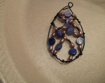 purple hues and beach blues pendant