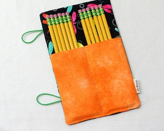 Pencil Case, Dragonfly fabric, Pencil Roll-Up, Artist Roll-Up, Quilter's Roll-Up