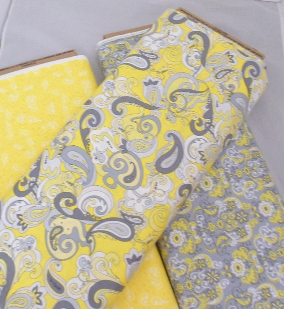 yellow grey fabric coordinating fabric cotton fabric. Black Bedroom Furniture Sets. Home Design Ideas