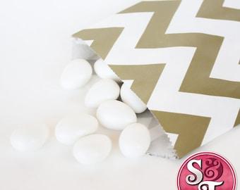 Chevron ZigZag Gold Metallic Goodie Favor Treat Bags - Qty 12