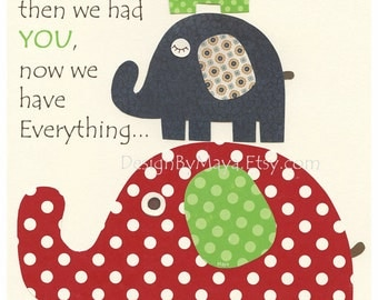 Baby boy room decor, Nursery wall art, Art for Kids, elephant, first we had, baby, navy Blue Green, red, baby boy room art, nursery decor