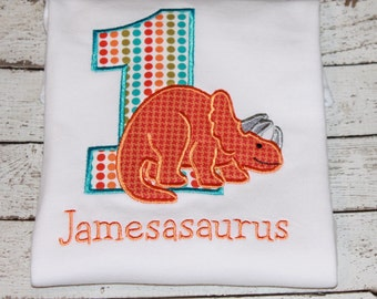 Triceratops Dinosaur Birthday Shirt, Numbers 1-9 available