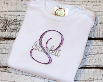 Newborn Girl's Monogram Outfit, Baby Girl's Monogram Shirt, Newborn Girl's Hospital Outfit, Newborn Girl's Going Home Outfit