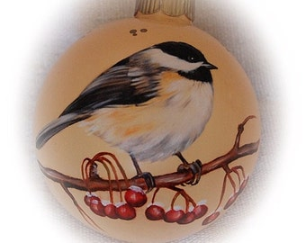 Birds Christmas Ornaments - Hand Painted Chickadee glass ball ornament - unique Christmas ball ornaments