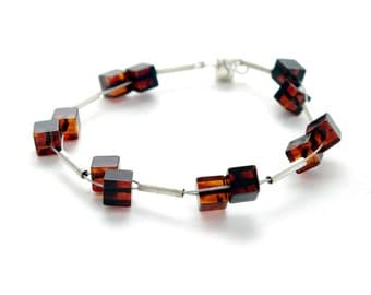Baltic Amber and Sterling Silver cube bracelet