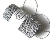 Black & White Bakers Twine - Black Licorice Striped Divine Twine - Invitation Wrapping String - Crafting - Packaging - 200 Yard Spool / Roll