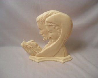 Vintage Celluloid Silhouette Mary Joseph and Baby Jesus Shelf Sitter Decoration Christmas Decoration
