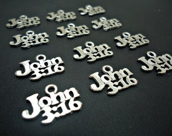"John 3:16 Charms / Pendants -  3/4"" Wide - Christian, Religious, Bible Verse"