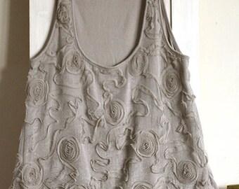 Vintage camisole, top tank, sand grey