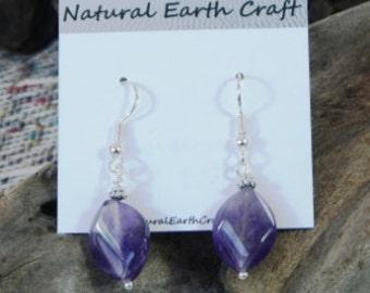 Purple amethyst earrings twisted diamonds semiprecious stone jewelry February birthstone  packaged in a gift bag 2529